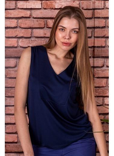 Stamina  Bayan V Yaka Kolsuz Bluz-5VS07 Lacivert